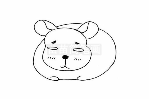 龙猫简笔画图片步骤四