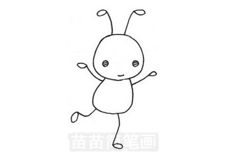 蚂蚁简笔画图片步骤三
