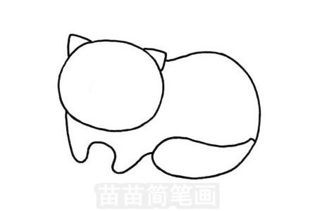 猫咪简笔画图片步骤三