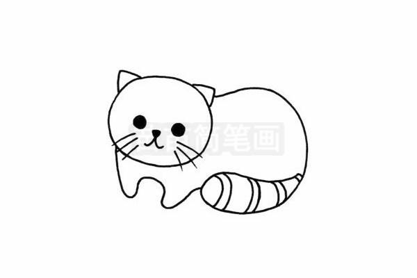 猫咪简笔画图片步骤四