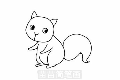 松鼠简笔画分步骤画法是:先画出一个圆形,然后画出身体,再画出尾巴,最后画出五官.