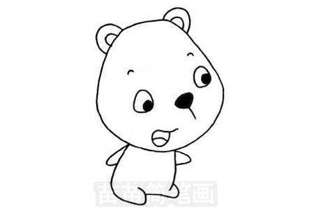 熊简笔画图片步骤三