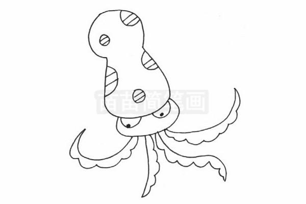 章鱼简笔画图片步骤四