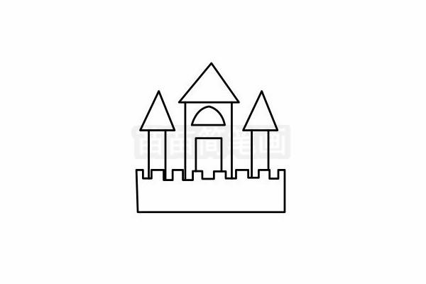 城堡简笔画图片步骤六