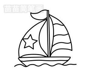 帆船简笔画图片步骤一