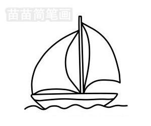 帆船简笔画图片步骤五