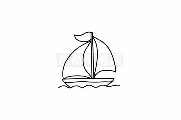 帆船简笔画图片步骤六