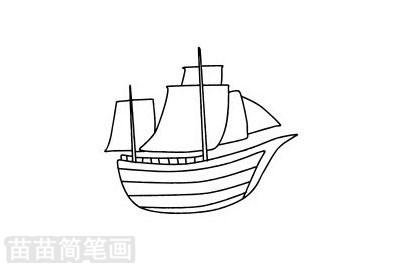 帆船简笔画图片大全作品二
