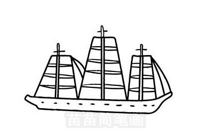 帆船简笔画图片大全作品五