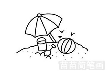 海滩简笔画图片步骤一