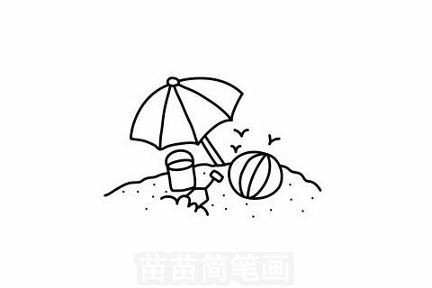 海滩简笔画大图