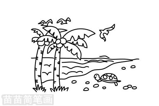 海滩简笔画图片大全作品二