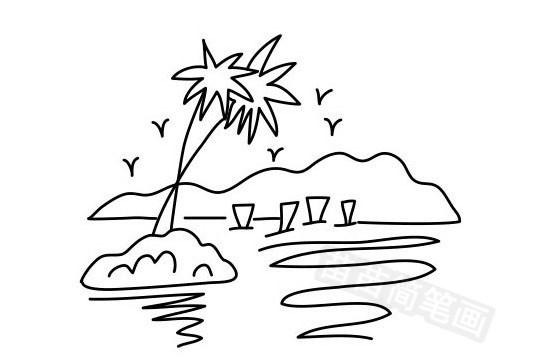 海滩简笔画图片大全作品五