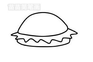 汉堡简笔画图片步骤四