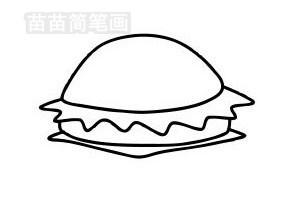 汉堡简笔画图片步骤五