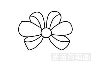 蝴蝶结简笔画图片步骤五