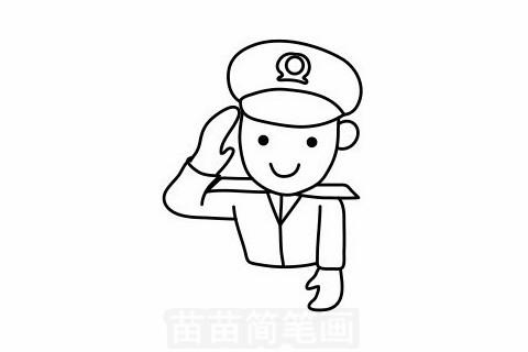 警察叔叔简笔画大图