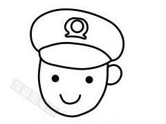 警察叔叔简笔画图片步骤四
