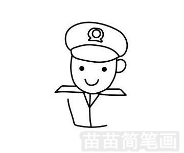 警察叔叔简笔画图片步骤五