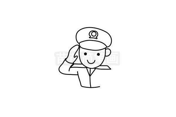 警察叔叔简笔画图片步骤六