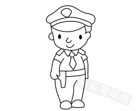 警察叔叔简笔画图片大全作品五