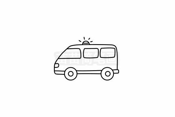 救护车简笔画图片步骤六