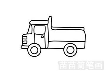 卡车简笔画图片步骤一