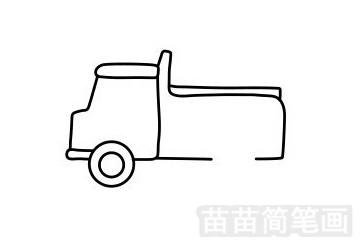 卡车简笔画图片步骤四