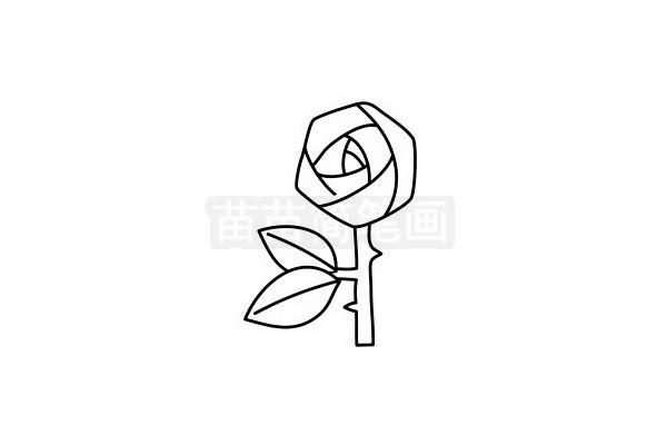 玫瑰花简笔画图片步骤六