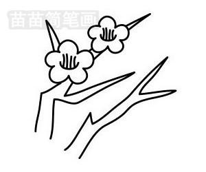 梅花简笔画图片步骤五