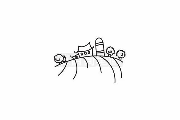 农场简笔画图片步骤六