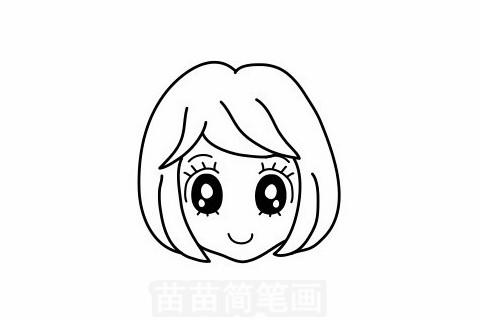 女孩发型简笔画大图