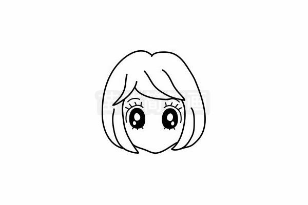 女孩发型简笔画图片步骤六