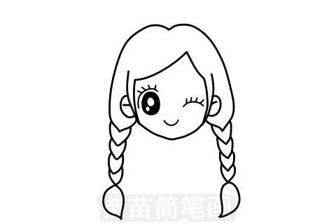 女孩发型简笔画图片大全作品一