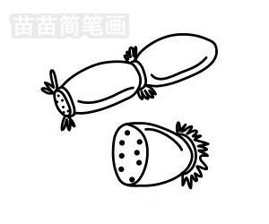 莲藕简笔画图片步骤一