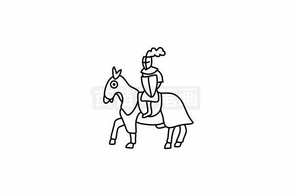 骑士简笔画图片步骤六
