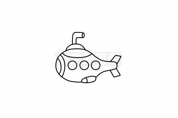 潜水艇简笔画图片步骤六