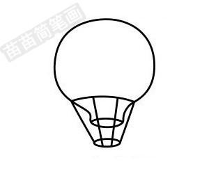 热气球简笔画图片步骤四
