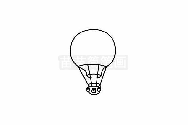 热气球简笔画图片步骤六