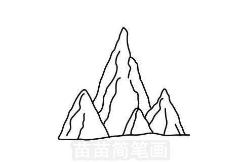 山峰简笔画图片大全作品一