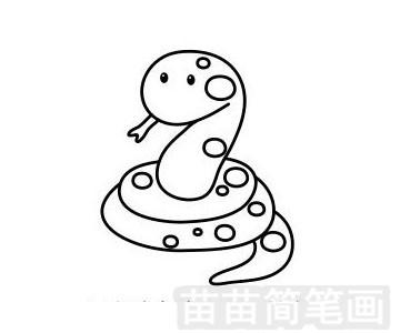 蛇简笔画图片步骤一
