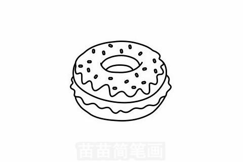 甜甜圈简笔画大图