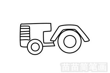 拖拉机简笔画图片步骤五