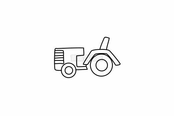 拖拉机简笔画图片步骤六
