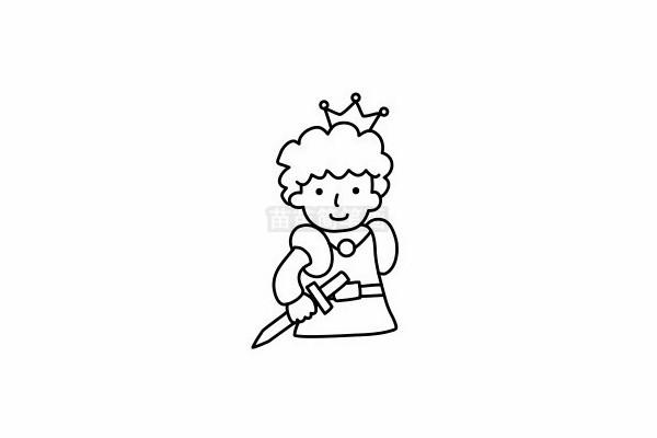 王子简笔画图片步骤六