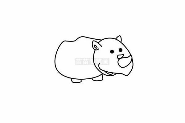 犀牛简笔画图片步骤六