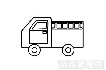 消防车简笔画图片步骤五