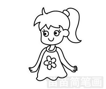 小女孩简笔画图片步骤一