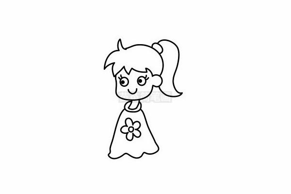 小女孩简笔画图片步骤六