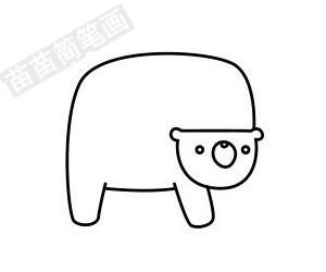 熊简笔画图片步骤五